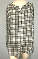 Capture Black and White check Long sleeve button and tab top Size 16 Womens