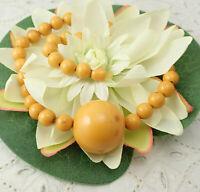 """Art Deco Egg Yolk Bakelite Huge 25mm Center Bead 16 1/4"""" Beaded Necklace"""