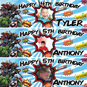 2 personalized birthday banner photo avengers super heroes kids boy party