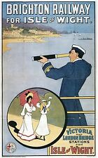 Vintage Rail travel poster  A4 RE PRINT Brighton Railway for the Isle of Wight