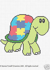 AUTISM AWARENESS TURTLE PUZZLE Graph Afghan Pattern