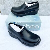 Abeo Bessie Clogs Nursing Shoes Womens size 9.5 med Black Leather no insoles