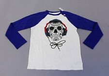 Gap Kids Boy's Headphones Skull Long-Sleeve Graphic T-Shirt CD4 White XL NWT