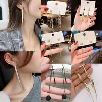 Fashion Long Tassel Earrings Crystal Women Ear Stud Drop Dangle Wedding Jewelry