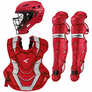 Easton Elite X Adult Baseball Catcher's Package - Red/Silver
