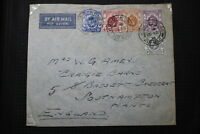 HONG KONG TO ENGLAND AIR MAIL FLIGHT COVER 1936 A95 DAIR48