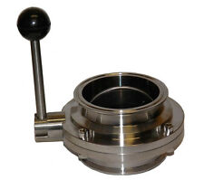 "4"" Bore Sanitary Butterfly Valve with 4"" Tri Clamp Fittings and Pull Handle"