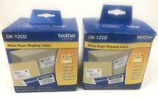 Brother DK-1202 White Paper Shipping Labels Rolls 2 Packs 1 unopened 1 opened