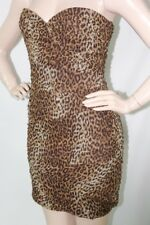 $NEW BCBG MAX AZRIA STRAPLESS WINNIE COCOA DRESS WOMEN'S SZ 8 ANIMAL PRINT