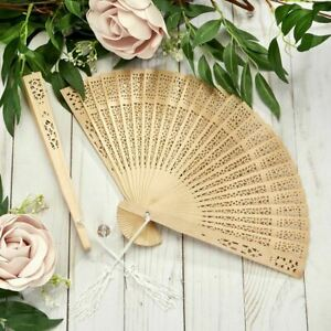 20-240 Carved Natural Sandalwood Fan - Summer Beach Wedding Favor