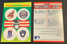 1990 Fleer Baseball Stickers Cleveland Indians Chief Wahoo Tigers Royals Brewers