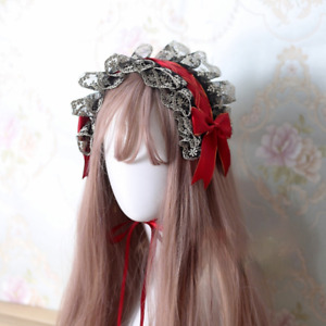 Women Girl Lolita Hairband Gothic Lace Hair Accessory Ribbon Clips Cosplay Decor