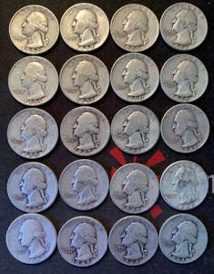 Roll of 40 Quarters Washington 1952 to 1939 Liberty 1926