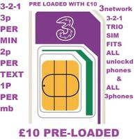 THREE 3 NETWORK SIM CARD PAY AS YOU GO PAYG TRIPLE SIZE £10 CREDIT READY TO GO