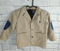 Boys Beige jacket with Elbow patches  Size 4 US POLO ASSN 2131