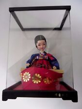 Korean Doll Figurine Traditional Attire Playing Musical Instrument Acrylic Case