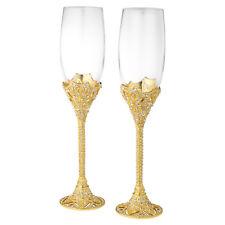 Olivia Riegel Gold Windsor Crystal Champagne Flute Wedding Glass Set of 2