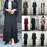 Abaya Dubai Muslim Women Dress Open Front Kaftan Cardigan Jilbab Robe Maxi Gowns