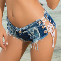 Women Low Waist Beach Sexy Lace Up Bandage Mini Denim Jeans Shorts Hot Pants