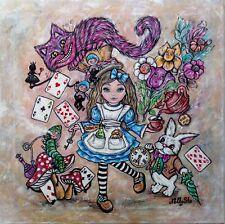 TABLEAU ORIGINAL, Alice au pays des merveilles, Alice in wonderland, 40x40cm