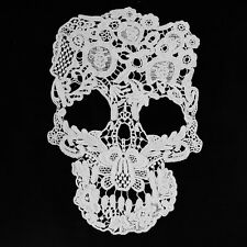 New Trendy White Punk Skull Pattern Floral Corded Embroidery Lace Applique Patch