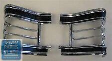 1967 Chevrolet Chevelle Tail Lamp Lens Light Bezels Chrome & Black Set