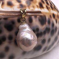 baroque 16X12.3mm natural 14k gold  pearl  south sea pendant