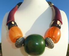 Green Lucite Tribal Necklace Great on Fantastic Large Vintage Beaded Red Amber