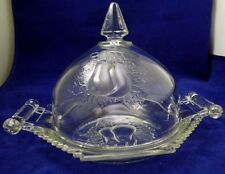 Vintage Crystal Glass Butter Dish Double Baltimore Pear Dome Covered Kitchen
