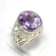 925 Sterling Silver Natural Purple Amethyst Oval Loose Gemstone Men Ring MSR-045