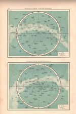 Antique map. STAR MAP NORTHERN & SOUTHERN SKY. c 1899