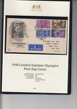 1948 London Olympics FDC in presentation folder with certificate of authenticity