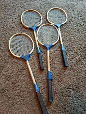 "Vintage Old ""OVER SEAS"" Wooden Badminton Rackets Set of 4 RARE"