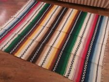 vintage saltillo mexican rug  throw wall hanging hand woven pre owned