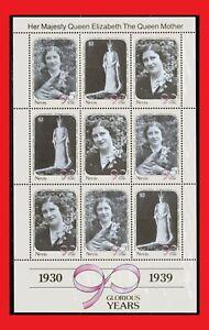 ZAYIX - 1990 Nevis 616-618 MNH miniature sheet - Queen Mother 90th Birthday