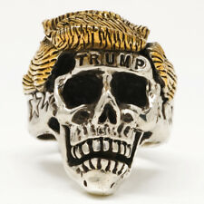 STAINLESS STEEL TRUMP SKULL RING WITH 18K gold plated HAIR
