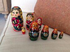 Two sets Of Matryoshka Russian Dolls Handprinted Unusual