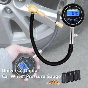 Digital Car Tire Air Bleeder Deflator Wheel Pressure Gauge Meter PSI BAR w/Valve