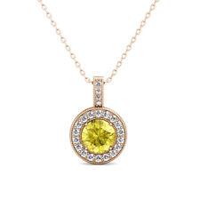 "1.01 Carat Yellow Diamond Channel Halo Pendant Necklace + 18"" Chain 14K Gold"