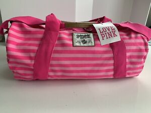 Victoria's Secret Pink Duffle Zippered Bag Stripe Color NWT Minor Cut On Leather