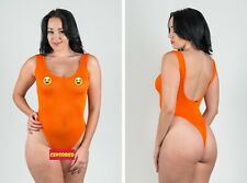Wicked Extreme Sheer Orange Thong One Piece Swimsuit Sexy C-Thru Very Weasel
