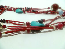 Necklace Women's Wrapping Chain Natural Stones Carnelian Turquoise NEW