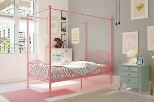 Dhp Canopy Bed With Sturdy Bed Frame, Metal, Twin Size - Pink,White,Gold Pewter