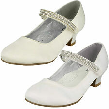 Girls Diamante Strap Party Shoes  Sizes 10x2 Ivory Or White H3066