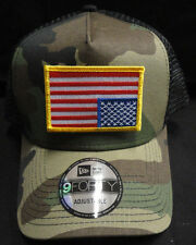 New Era Camo Mesh Snapback Trucker Hat/Cap With Anti-Trump Gold American Flag