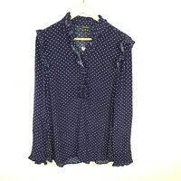 NWT RRP $79 Portmans Women's Blouse Polka Dot Frill Navy Blue White Size 10