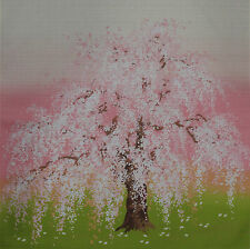 Furoshiki Japanese Fabric Cloth 'Weeping Cherry Tree on Grass' Cotton 50cm