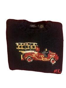 Polo Ralph Lauren Boys Kids Blue Red Bear Sweater Vintage Fire Truck 911 Crest