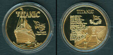 TITANIC WHITE STAR LINE Commemorative GOLD PLATED Coin Medal