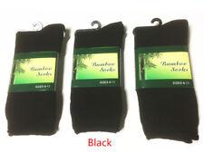 6 Pairs Mens Bamboo Heavy Duty Work Socks Size 6-11 Black & Dark Gray